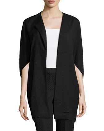 3/4-Sleeve Textured Jacket, Black