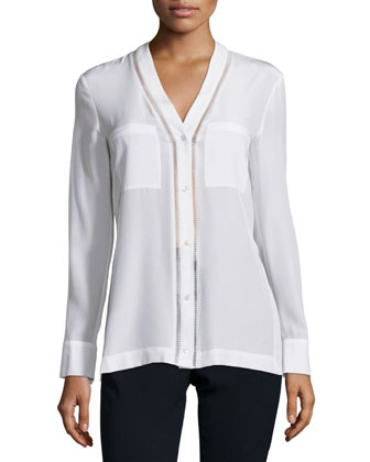Ladder-Stitch Button-Down Silk Blouse