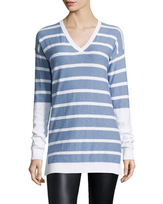 Long-Sleeve Striped V-Neck Shirt