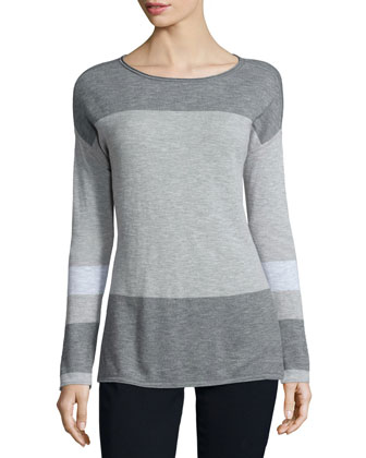Colorblock Cotton Intarsia Sweater