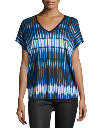 Tie-Dye Striped Cocoon Tee