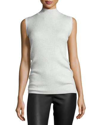 Ribbed Turtleneck Sleeveless Top