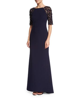 Beaded-Short-Sleeve Mermaid Gown
