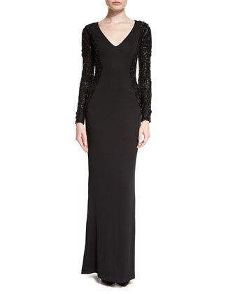 Tribeca Long-Sleeve V-Neck Column Gown