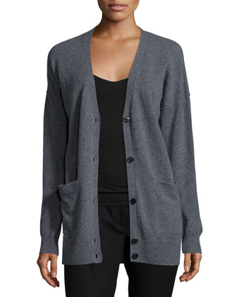 Soft Wool V-Neck Cardigan, Gray