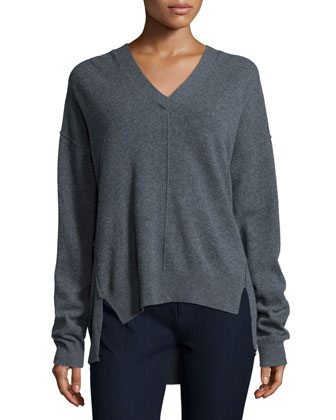 Seamed Wool V-Neck Sweater