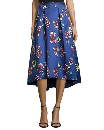 Midi Floral-Print High-Low Skirt