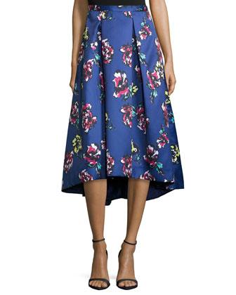 Midi Floral-Print High-Low Skirt