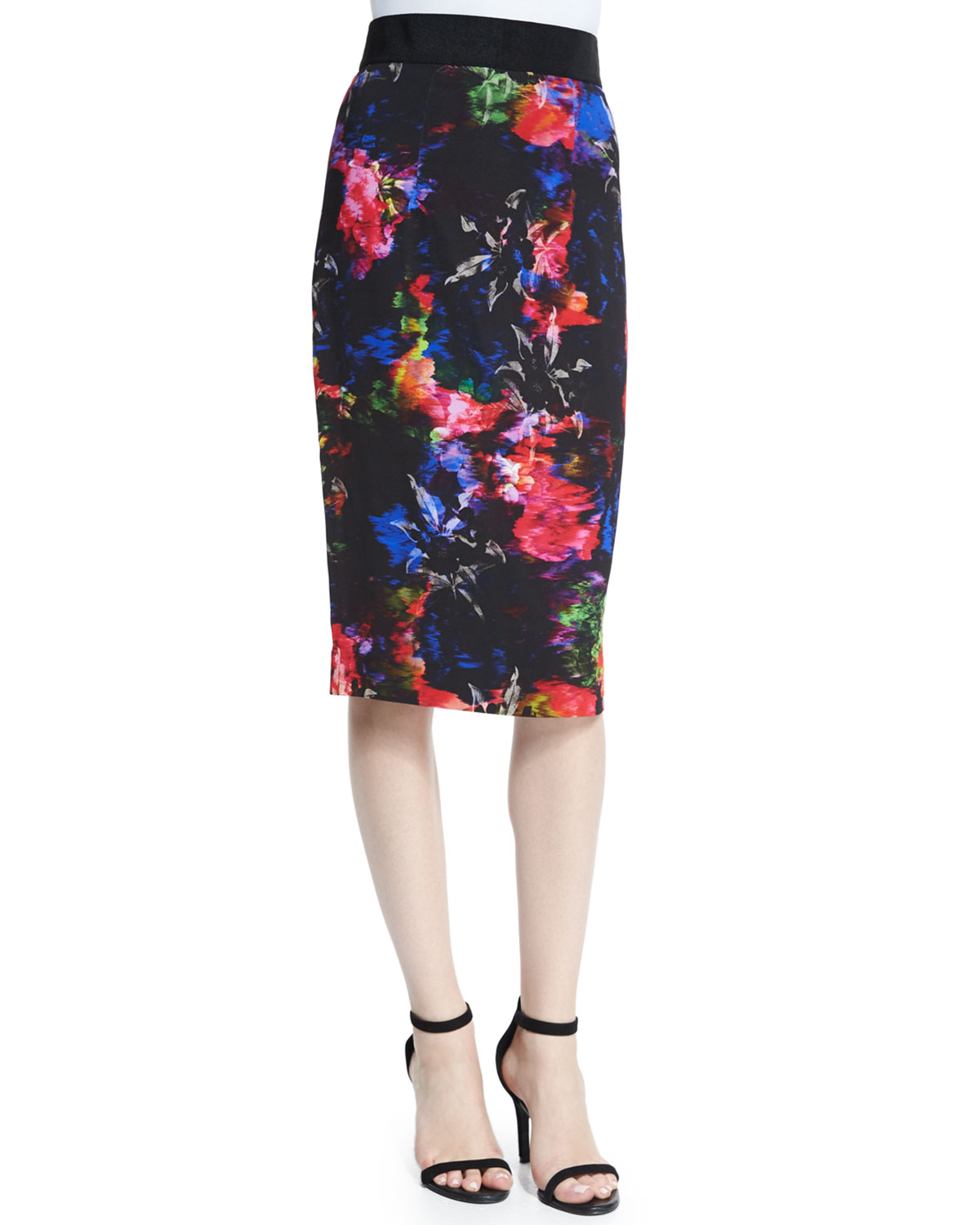 Floral-Print Pencil Skirt, Size: 2, Multi Colors - Milly
