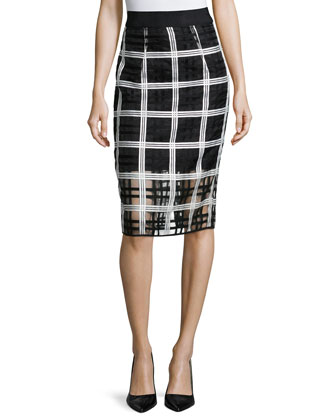 Plaid Organza Pencil Midi Skirt