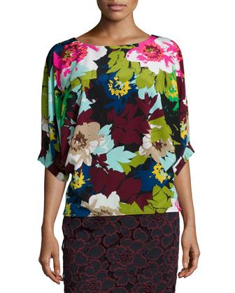 Floral-Print V-Back Top