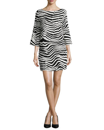 3/4-Sleeve Animal-Print Sheath Dress
