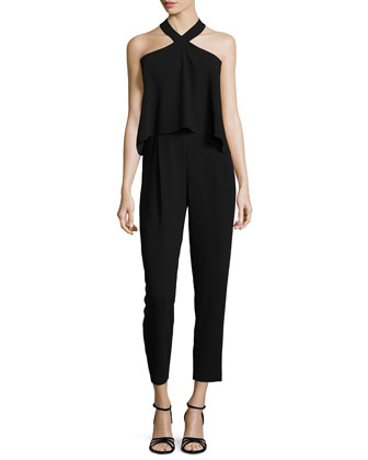 Sleeveless Halter Popover Jumpsuit