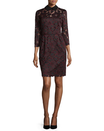 3/4-Sleeve Collared Lace Sheath Dress