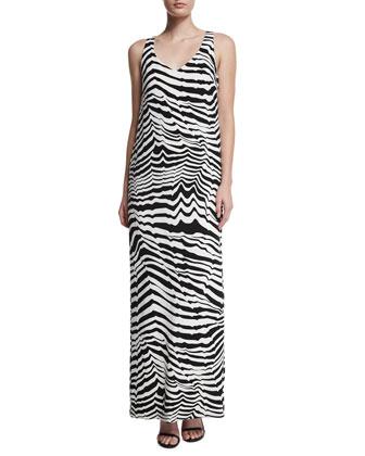 Sleeveless Animal-Print Maxi Dress