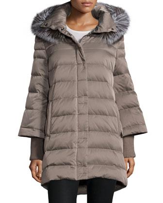 Hooded Fur-Trim Puffer Coat