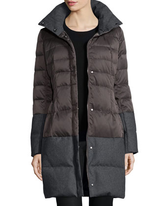 Belted Nylon Puffer Coat, Concrete