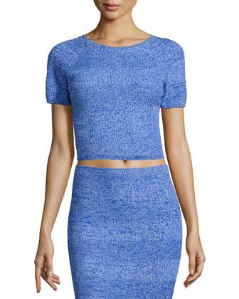Solange Wool Crop Top, Blue