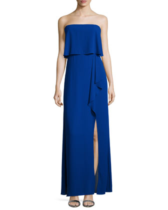 Strapless Ruffled Popover Gown, Royal Blue