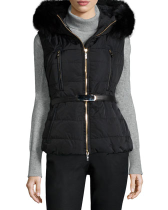 Fox Fur-Trim Belted Vest