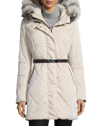 Belted Puffer Coat w/ Removable Fur-Trim