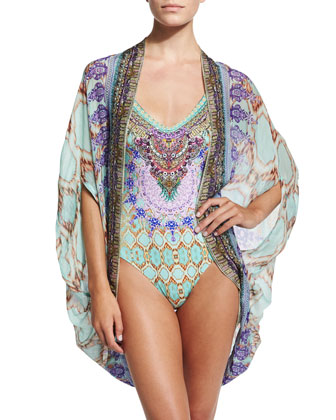 Open Front Printed Cardigan/Cape Coverup & One-Piece Swimsuit Embellished ...