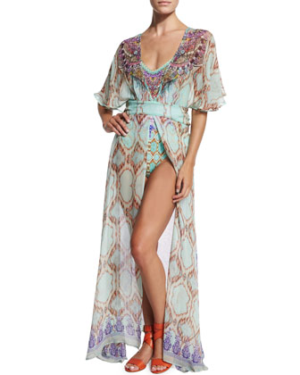 Printed Open-Front Coverup Dress