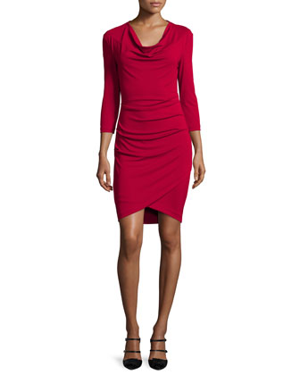 3/4-Sleeve Cowl-Neck Asymmetric Dress