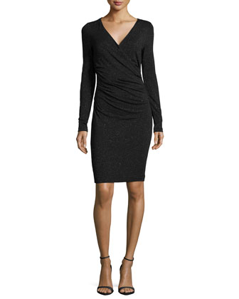 Long-Sleeve Faux-Wrap Ruched Dress