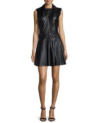 Sleeveless Zipper-Front Belted Leather Dress