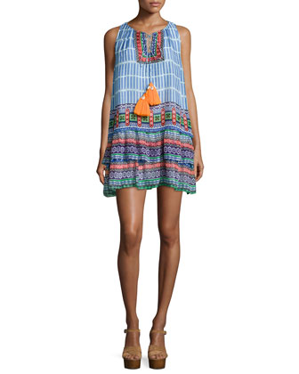 Sleeveless Multi-Print Layered Dress, Multi Colors