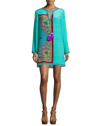 Long-Sleeve Mini Dress, Green Pattern
