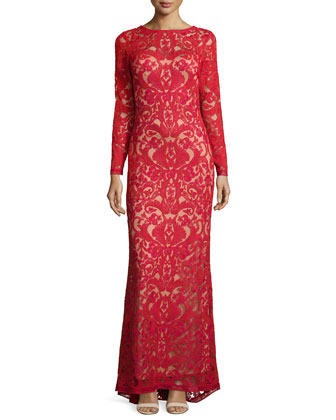 Long-Sleeve Lace Overlay Gown, Red