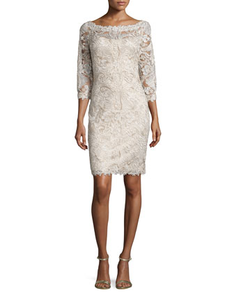 3/4-Sleeve Lace Cocktail Dress, Purple