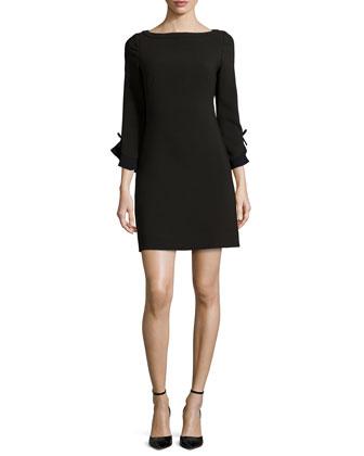 3/4-sleeve sheath dress with bow detail