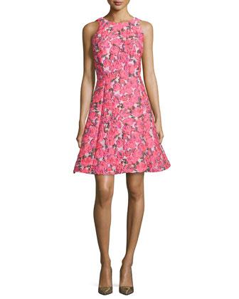 sleeveless floral jacquard bow-back dress