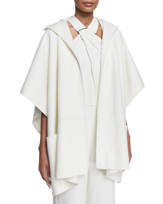 Double-Face Poncho Coat W/ Hood