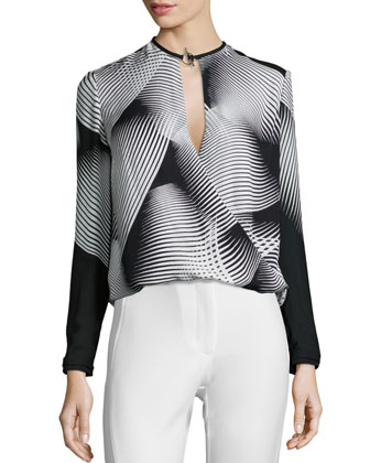 Long-Sleeve Graphic-Print Draped Blouse