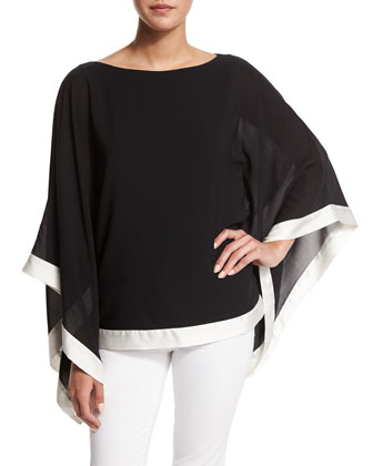 Chesney Draped Chiffon Blouse, Black/White