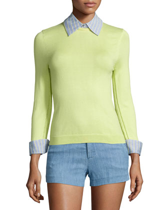 Hester Cotton Pullover Sweater, Yellow/Blue