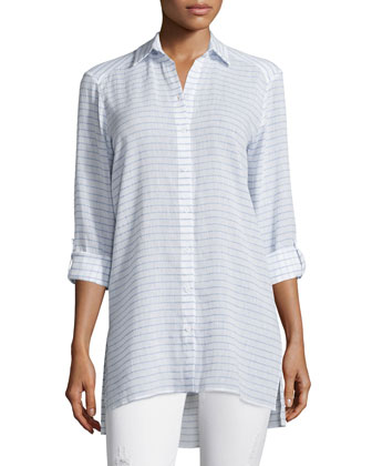 Otis Striped Button-Front Top, White/Blue