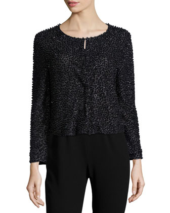 Beaded 3/4-Sleeve Cardigan, Black