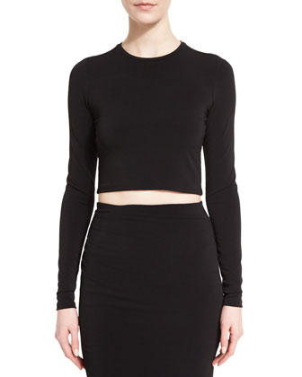 Long-Sleeve Jet Cropped Top, Black