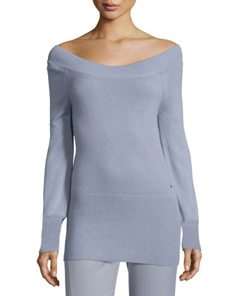 Off-the-Shoulder Slim Cashmere Tunic