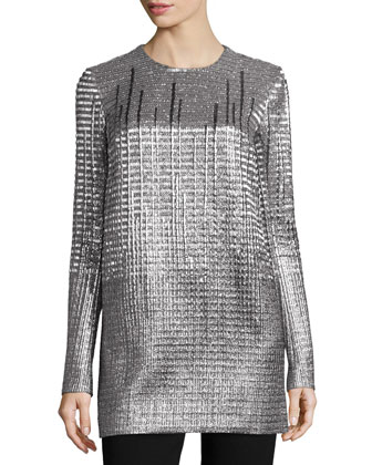 Long-Sleeve Metallic Tunic
