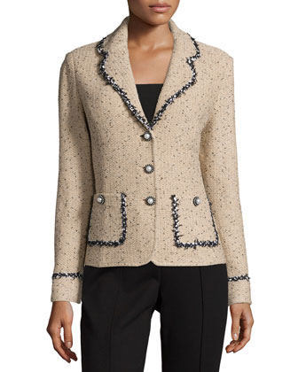 Village Tweed Jacket W/Contrast Trim, Camel/Black/Cream