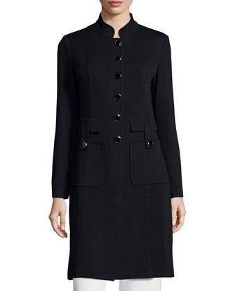 Santana Button-Front Long Military Jacket, Black