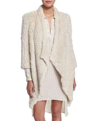 3/4-Sleeve Rabbit Fur Coat