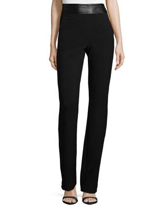 High-Waist Slim Boot-Cut Pants, Black