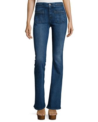 Braid-Trim Flare Jeans, Vivid Medium Indigo